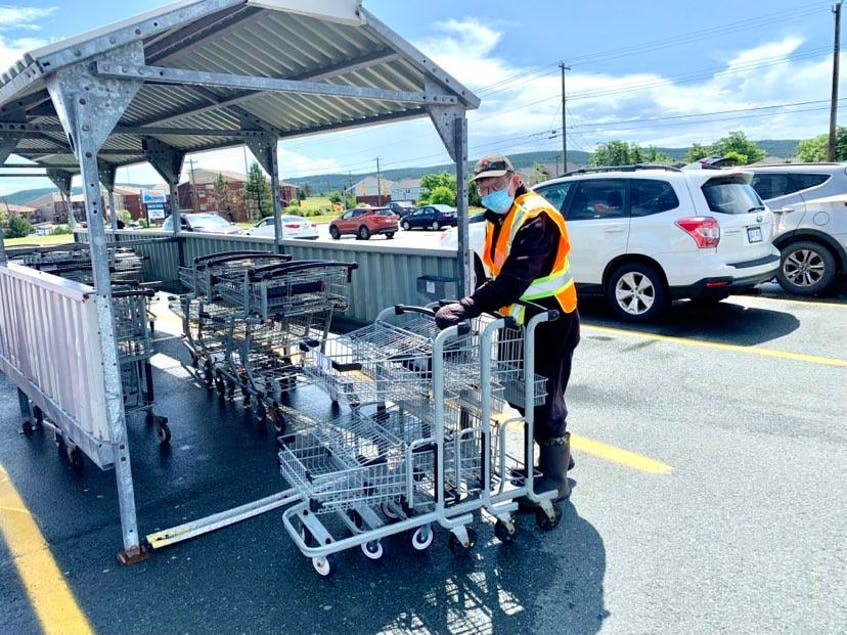Marty Heffernan, an employee of Dominion supermarkets who turns 65 today, July 21, has always taken his job of collecting carts and cleaning up at Dominion supermarkets, seriously. He'll retire Friday, July 23, after 48 years with the company. — Rosie Mullaley