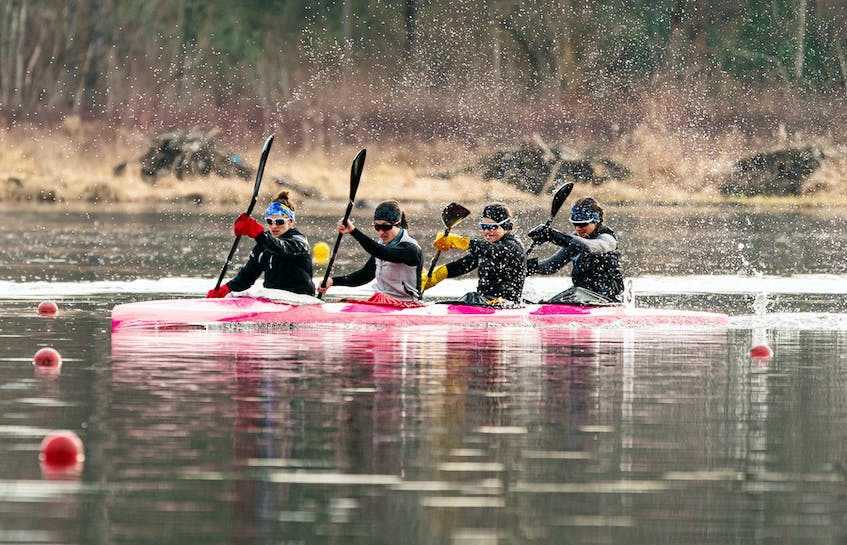 Andreanne Langlois of Trois-Rivieres, Alanna Bray-Lougheed of the Burloak Canoe Club, Cheema's Michelle Russell and Madeline Schmidt of the Rideau Canoe Club race in the K-4 500-metre final  in Burnaby, B.C. - Rich Lam / Canoe Kayak Canada