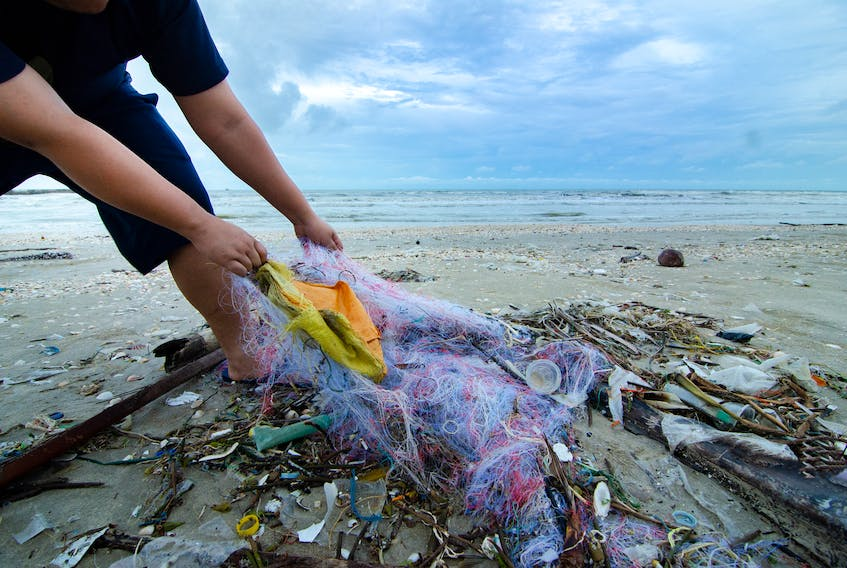 Discarded or lost garbage and gear washes up on an Atlantic shore.