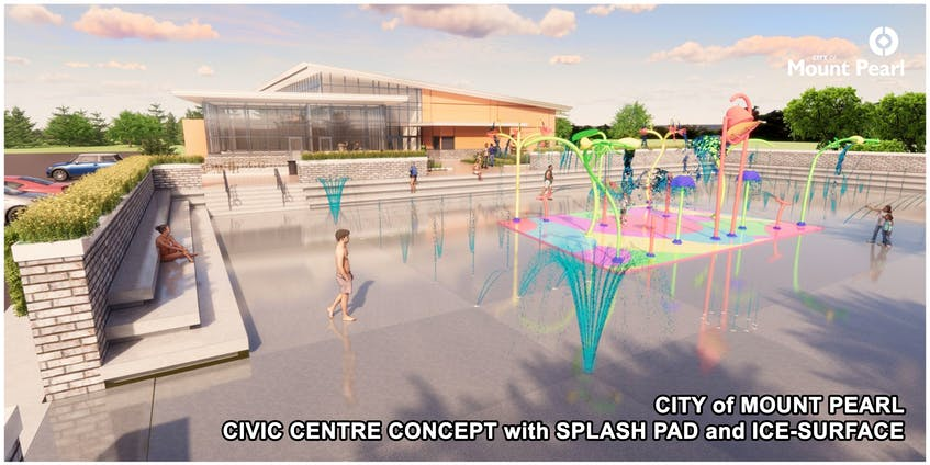 The new Mount Pearl civic centre, announced Wednesday by Mayor Dave Aker, will include indoor space for community groups, as well as an outdoor splash pad and outdoor ice surface.