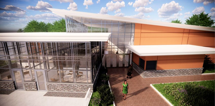 An artist's depiction shows what the new Mount Pearl civic centre will look like. The facility is expected to include an outdoor splash pad and outdoor ice surface.