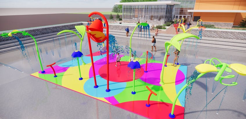 A splash pad was one of the things Mount Pearl residents had noted the need for in a recent survey. This artist's depiction is what it's expected to look like at the city's newly announced civic centre.