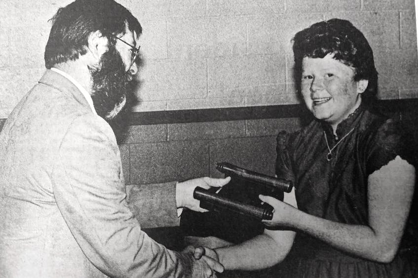 Sherri Pineo was named the most outstanding graduate from Brooklyn Elementary School in 1986 and received the Terrance Arnason Award, which was presented by NSTU local president Ron Bunton. - File Photo