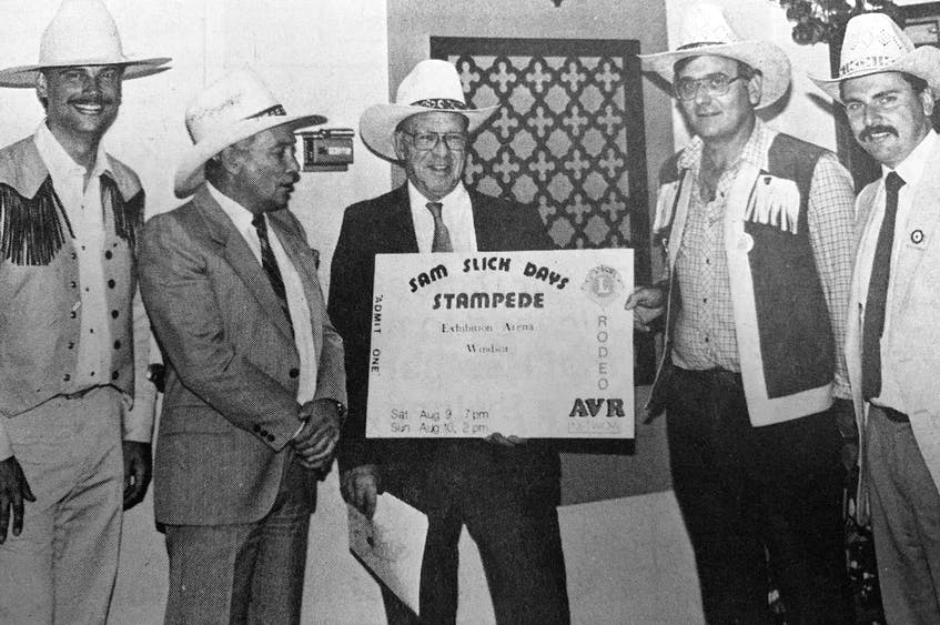 Maritime Rodeo Association's Dan Tingley, Hants West MLA Ron Russell, Windsor's deputy mayor Walter Stephens, Windsor Lion Don Whynot and Roland Belliveau, of Labatt's Brewery, held a press conference to announce Windsor was going to welcome its first professional rodeo in August 1986. - File Photo