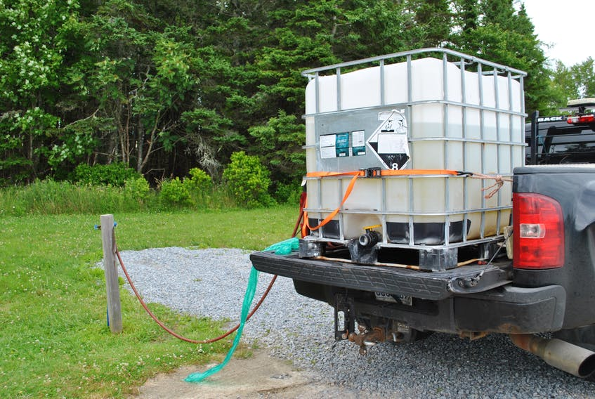 A water tank is filled up with non-potable water at the Municipality of Barrington's RV station on Sherose Island. Drought conditions in Southwestern Nova Scotia for three of the past five years has caused many residential wells to go dry. KATHY JOHNSON