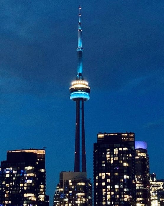 The CN Tower is lit up teal to mark Ovarian Cancer Awareness Day on May 8.