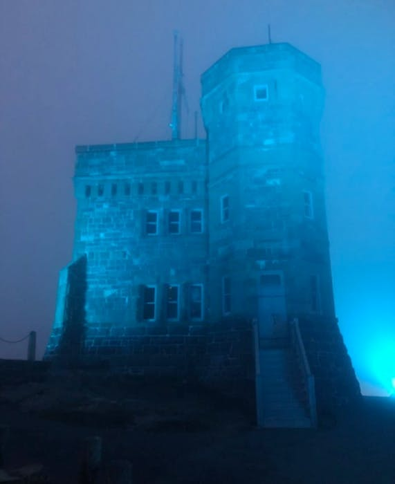Cabot Tower on Signal Hill is lit up teal every May 8 to mark Ovarian Cancer Awareness Day.