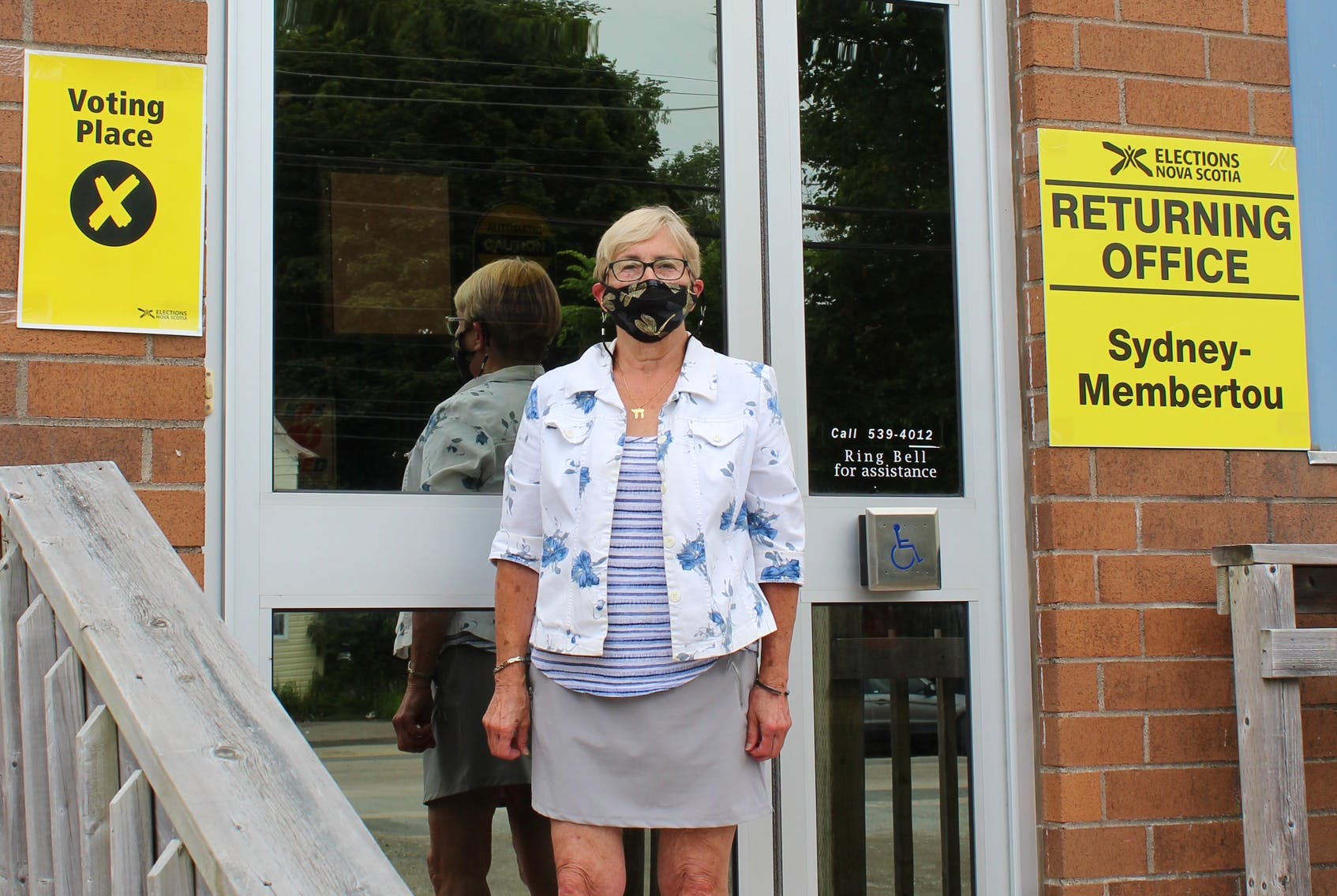 Sydney resident Wendy Cohen-Ross stops by the Sydney Curling Club on Wednesday to cast her ballot ahead of the Aug. 17 provincial election. IAN NATHANSON/CAPE BRETON POST
