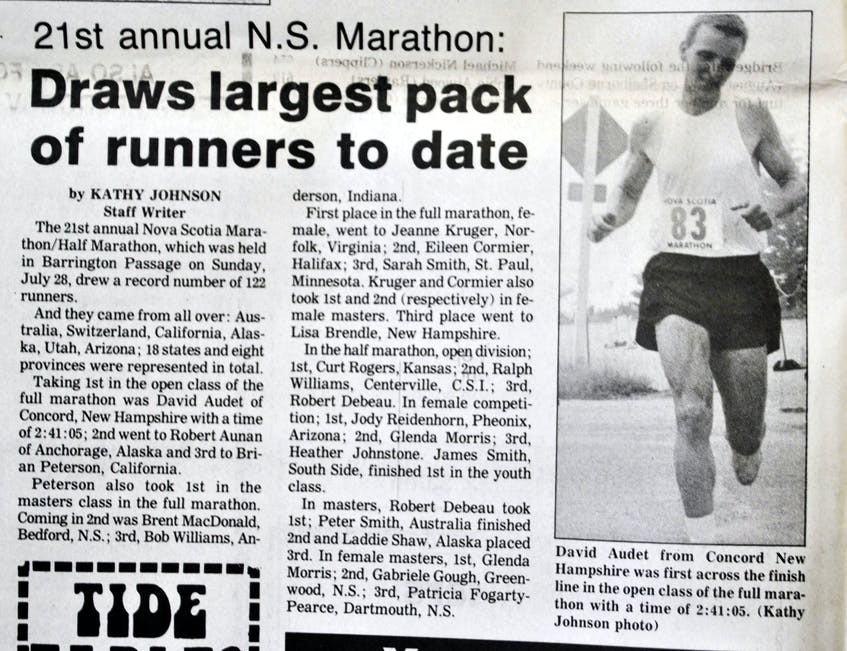 Marathon draws largest pack of runners to date, reads the headline for coverage of the 1991 Nova Scotia Marathon in the Shelburne County Coast Guard. KATHY JOHNSON