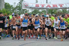Runners leave the start line in the 2018 Nova Scotia Marathon. This year marks the  50th anniversary of the annual road race that was started in eastern Shelburne County in 1970. The Municipality of Barrington has hosted it since 1984. KATHY JOHNSON