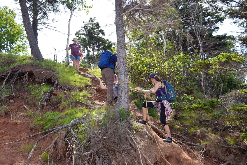 Participants were helped down a rope along the bank. An alternative route along the beach is available.
