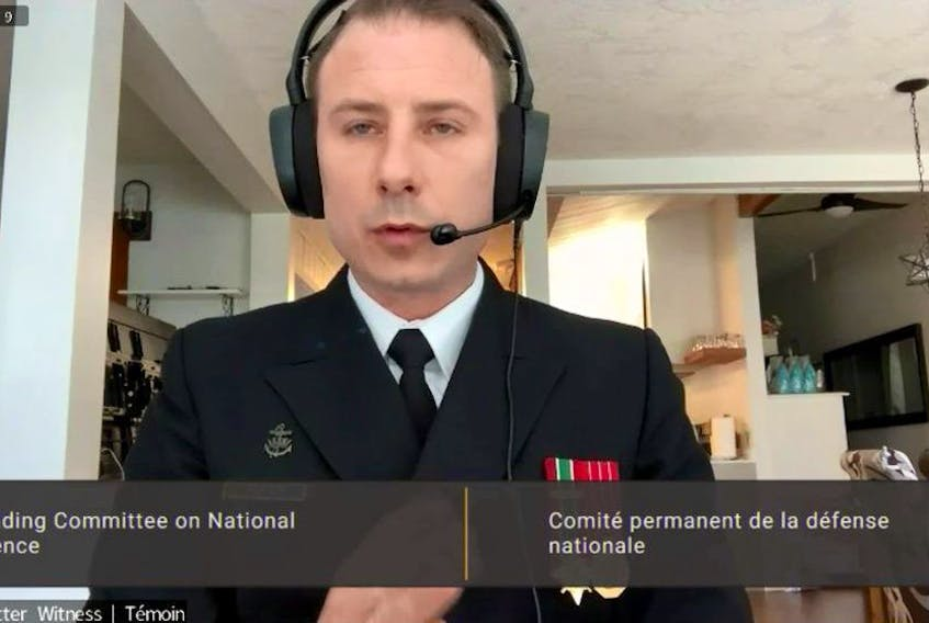 Lt. Cmdr. Raymond Trotter testified about the comments on the Zoom call during a meeting of the Commons defence committee earlier this year. ParlVu/Screengrab