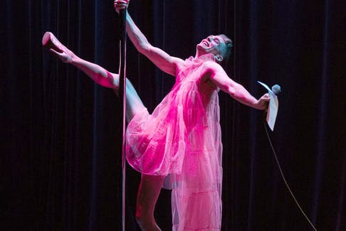 Brett Dahl as Sissy Fit in a 2019 performance at Arts Commons. Photo by Lucia Juliao.