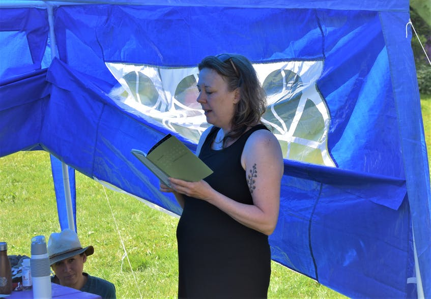 Author Sue Goyette reads one of her poems during Gaspereau Day in the Dreamery on July 18. - Richard MacKenzie