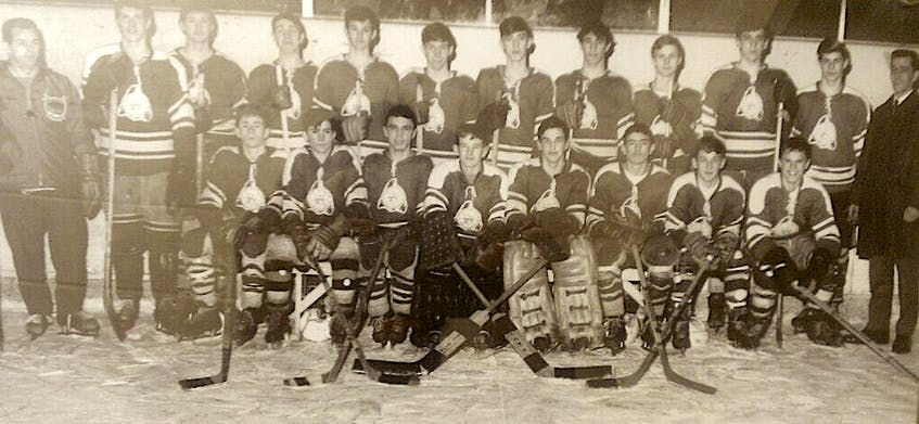 Two members of the Grand Falls 1968 midget all-star hockey team would be drafted by National Hockey League clubs within the following four years, although neither Terry French or Terry Ryan Jr. played in the NHL (Ryan did play in the WHA). However another forward with the Grand Falls squad did see time in the NHL despite never being drafted. That was Don Howse. who spent half a season with the Los Angeles Kings after a long and successful run with the AHL's Nova Scotia Voyageurs, the powerhouse farm team of the Montreal Canadiens. Members of the Grand Falls team were (left to right), front row: Eddy Cashin, Peter Hedges, Ross Flood, Tom Fudge, Roger Dean, Terry Ryan, Terry Cooke and Harry Nichols; back row: Cec Thomas (coach), Don Howse, Terry French, Maurice Grimes, Eric Downton, Bob Gillett, Chris Marsh, Jim Munch, Mike Shallow, Tony Shallow, Brian Cassell and Mac Davis (coach). — Twitter/@DaveFeener