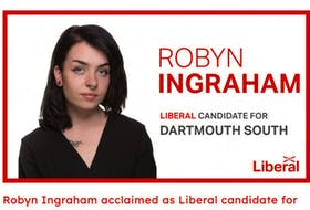 A screen grab from the Liberal Party of Nova Scotia's website, after Robyn Ingraham was announced as a candidate for Dartmouth South.