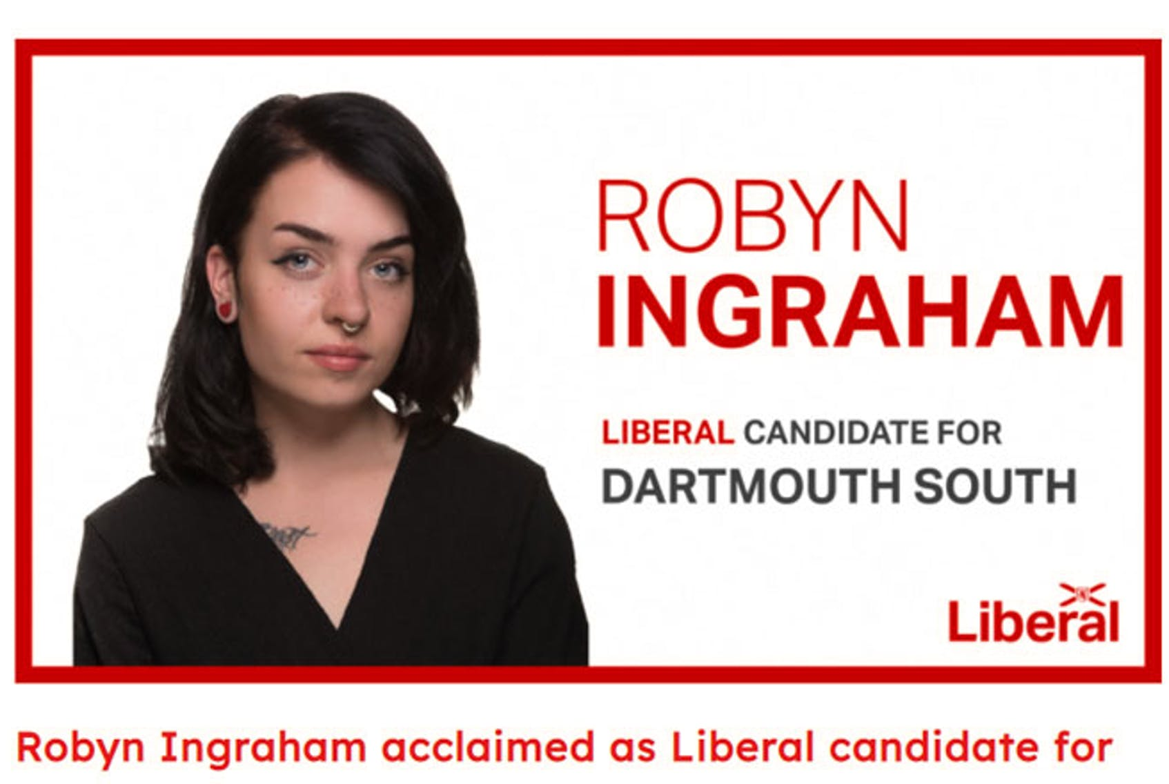 A screenshot from the Liberal Party of Nova Scotia's website, after Robyn Ingraham was announced as a candidate for Dartmouth South. The post has since been removed.