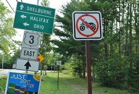 There are lots of signs at the start of the rail trail through the Town of Shelburne where it connects with the Roseway River Trail. The Town of Shelburne is seeking regulatory approval from the province that would allow for the operation of off-highway vehicles (OHV) on certain town streets.