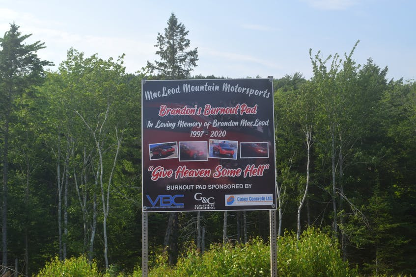 The burnout pad at MacLeod Mountain Mudding is in honour of Brandon MacLeod