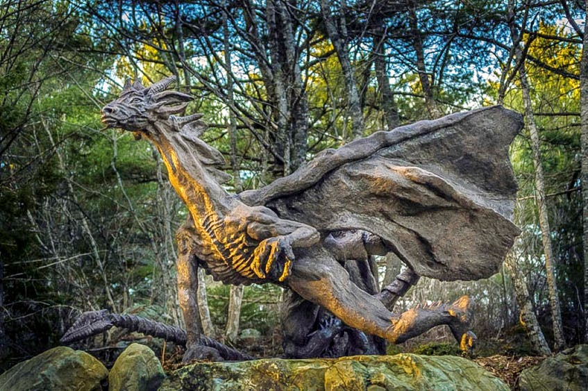 Loiverpool, N.S. artist Ivan Higgins has been sculpting for more than 15 years, including this intricately-sculpted dragon.