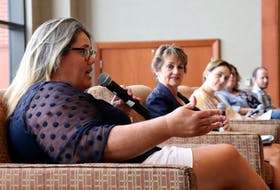 Representatives from Health P.E.I. and the queer community sit on stage at the Delta Hotel on July 19 for Pride Talks #1: Fixing Mental Health Supports Post-COVID. From left are Treena Smith, mental health advocate, Joanne Donahoe, executive director of mental health and addictions at Health P.E.I., moderator Alice Curitz, Lisa Thibeau, assistant deputy minister minister of mental wellness at Health P.E.I., and Jay Gallant.