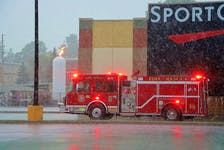 New Minas firefighters responded to a propane tank that was struck by lightning around 5:42 p.m. July 21. RCMP assisted with blocking the area off and the evacuation to local residential areas. ADRIAN JOHNSTONE