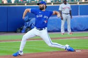 Blue Jays sarting pitcher Robbie Ray delivers during the first inning against the Boston Red Sox at Sahlen Field on July 21, 2021 in Buffalo.