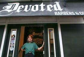 FOR NOUSHIN STORY: Robyn Ingraham says she was asked to drop out of the race for Dartmouth South by the Liberal party...she is seen in between customers at her day job, at Devoted Barbers in Dartmouth Thursday July 22, 2021.  TIM KROCHAK PHOTO