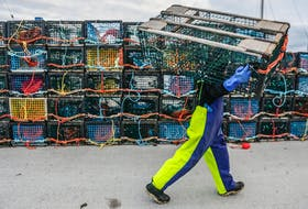 A fisherman carries a lobster trap towards the boat as the crew prepares for the start of lobster season on Monday, Nov. 27, 2017.