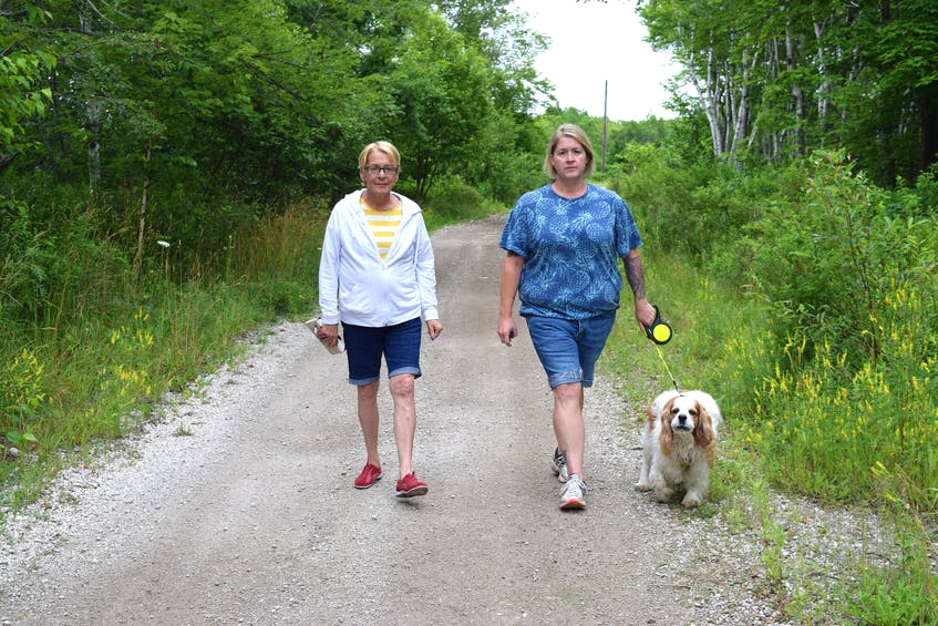 Jennifer LeMoine, right, of New Waterford, walks along the Summit Recreational Trail in Scotchtown with her dog Winston and mother Beverly LeMoine of Truro. LeMoine said the beavers along the trail people enjoyed so much have been trapped and killed rather than relocated. Sharon Montgomery-Dupe/Cape Breton Post
