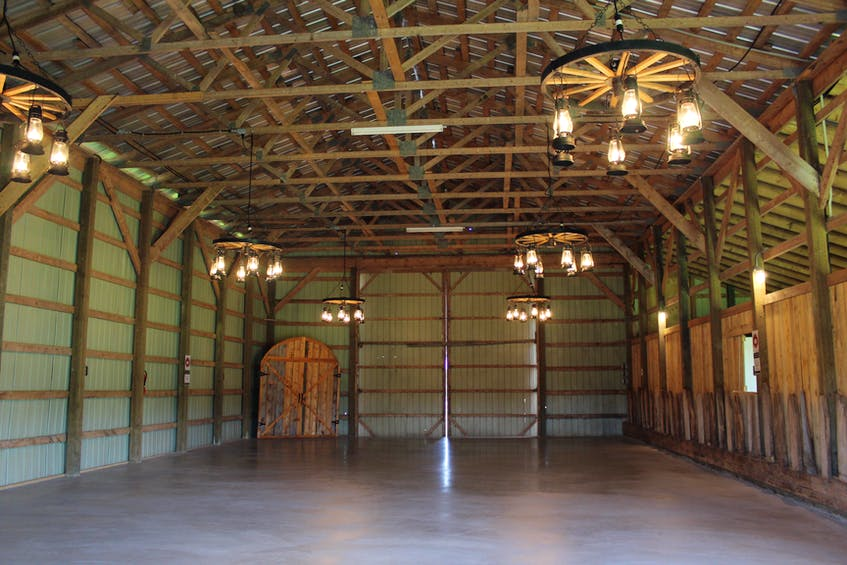 Inside the barn, where many people have their receptions.