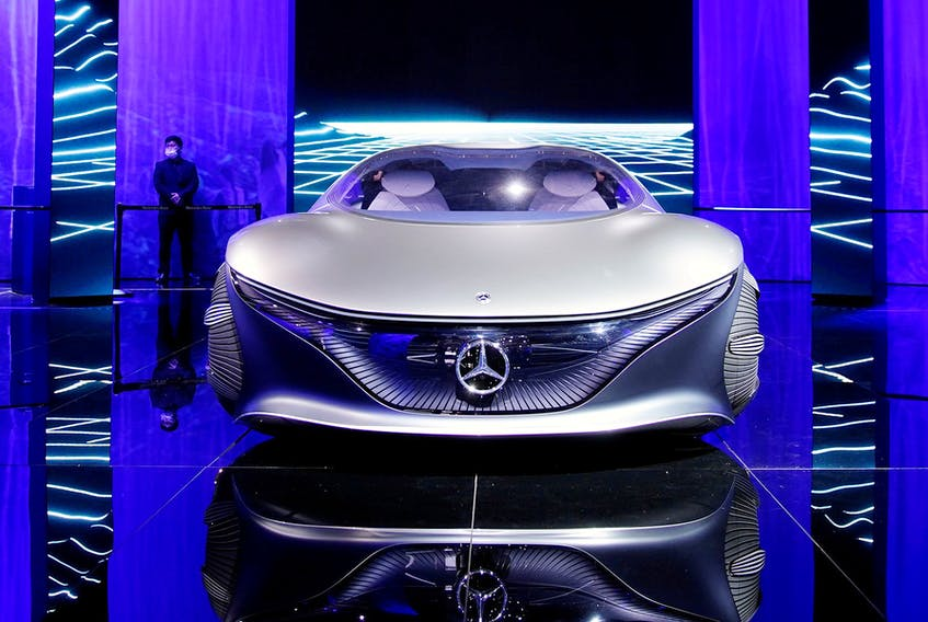 A Mercedes-Benz Vision AVTR concept vehicle is displayed during a media day for the Auto Shanghai show in Shanghai, China April 19, 2021. PHOTO BY ALY SONG /Reuters