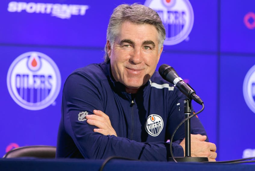 Edmonton head coach Dave Tippett is interviewed by media after an Edmonton Oilers practice at Rogers Place in Edmonton on March 10, 2020.