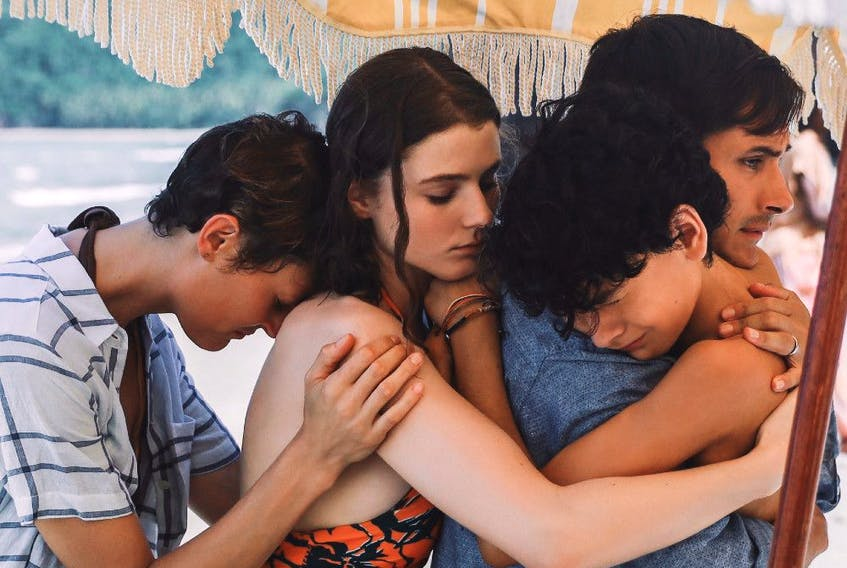 From left, Vicky Krieps, Thomasin McKenzie, Alex Wolff and Guy Garcia Bernal in Old.