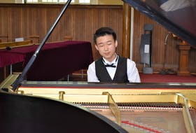 Fourteen-year-old pianist Devin Huang during his recent performance in Truro.