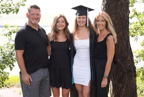Ava Boutilier was grateful to get home and spend time with her family during the past month. Here the family is at Boutilier's 2020 graduation from the University of New Hampshire with a bachelor's degree in biomedical science. From left are Dean Boutilier, Bianca Boutilier, Ava Boutilier and Jo-Ann Campbell-Boutilier.