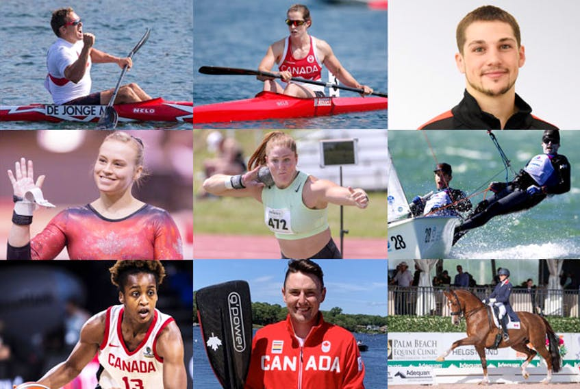 Athletes born or living in Nova Scotian that will compete at the Tokyo Olympics are top row, left to right: kayaker Mark de Jonge (Halifax), kayaker Michelle Russell (Fall River), boxer Wyatt Sanford (Kennetcook); middle row: gymnast Ellie Black (Halifax), shot putter Sarah Mitton (Brooklyn), sailors Jacob Saunders (Chester) and Oliver Bone (Halifax); bottom row: basketball Shay Colley (East Preston), paddler Connor Fitzpatrick (Dartmouth), equestrian Brittany Fraser-Beaulieu (New Glasgow).
