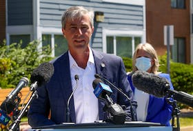 August 5, 2020— Provincial Progressive Conservative Leader Tim Houston outlines his party's long-term care plan Wednesday at a news conference outside the Melville Heights nursing home in Halifax. ERIC WYNNE/Chronicle Herald
