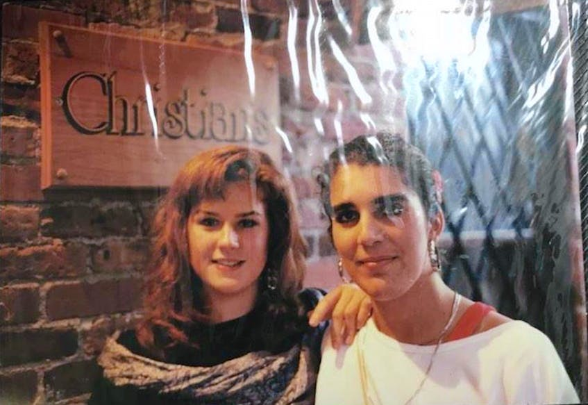 Rhonda Brophy and Krista Koerner at Christian's Pub in August 1988.