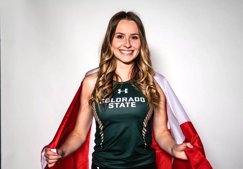 Lauren Gale wears the Canadian flag on her back. At age 21, she will be the youngest member of the country's track and field team competing at the Tokyo Olympics next month. Her late grandfather, Ivan Green, was a track and field star locally in the 1950s. PHOTO CONTRIBUTED/COLORADO STATE UNIVERSITY