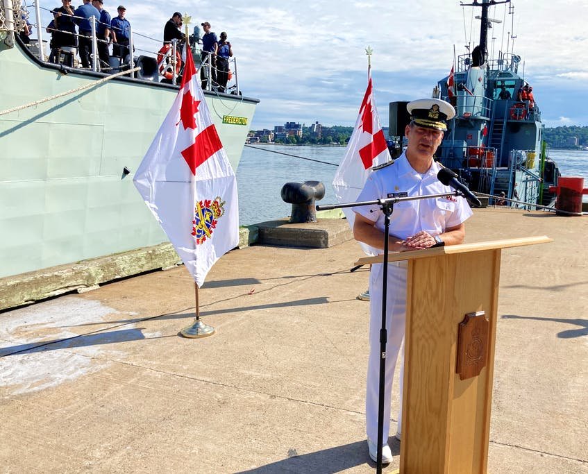 Rear Admiral Brian Santarpia, commander of Maritime Forces Atlantic, addresses a small gathering Saturday morning at HMC Dockyard in Halifax before HMCS Fredericton sets sail for a six-month deployment to the North Atlantic and northern European waters as part of NATO's Operation Reassurance. - Francis Campbell