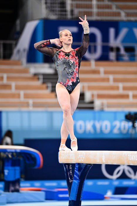 Ellie Black of Halifax advanced to the balance beam final with a sixth-place finish on Sunday at the Tokyo Olympics. - John-Cheng/GymCan