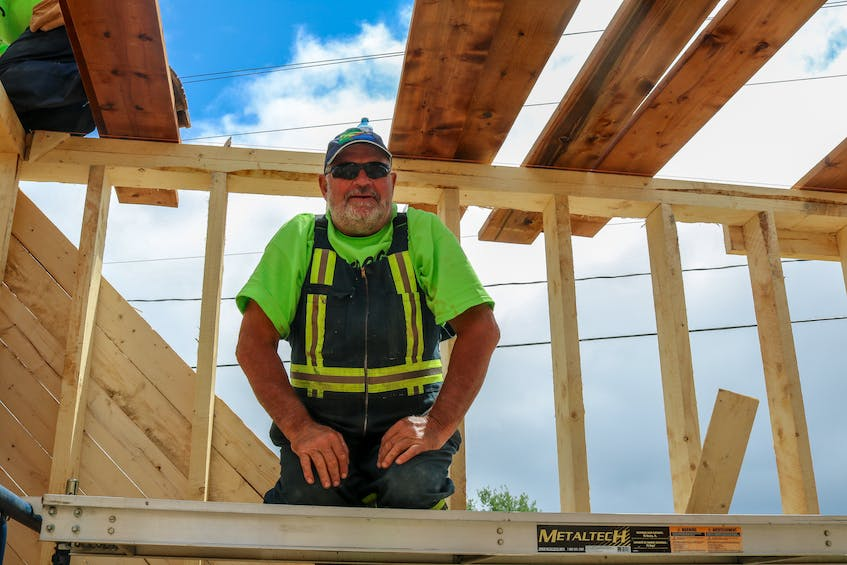"""""""We've got a great crew of volunteers, fabulous workers,"""" said Groovy Goat barn rebuild lead Kevin Chaisson, seen here. JESSICA SMITH/CAPE BRETON POST"""