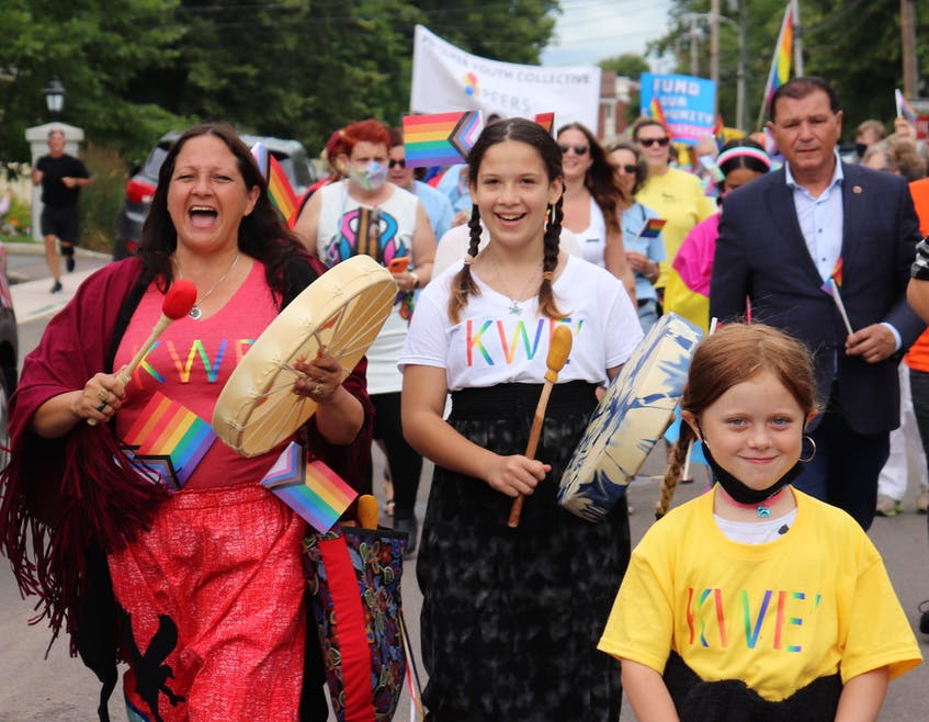 Mi'kmaq drummers lead the 2021 Pride P.E.I. march through downtown Charlottetown on July 24. The 2021 Pride Festival, which included nearly 50 events across the Island, took place from July 18-25. - Logan MacLean