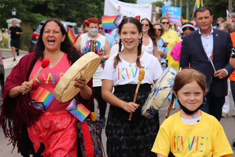 Mi'kmaq drummers lead the 2021 Pride P.E.I. march through downtown Charlottetown on July 24. The 2021 Pride Festival, which included nearly 50 events across the Island, took place from July 18-25.