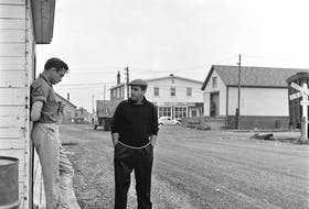 This photo of Johnny Cash (left) and his manager Saul Holiff, taken by photographer Richard Friske in Badger in October 1961, is believed to be the first photo of the two men togehter, It was at Gander Airport, while in the province for a hunting trip, that Cash hired Holiff as his manager, shaking his hand to seal the partnership. Holiff hired June Carter shortly thereafter.