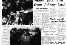 The Telegram - then The Evening Telegram - ran a story and photos of Johnny Cash's moose hunting trip in the Oct. 27, 1961 issue of the paper. These photos, unlike many that were taken of the trip, were taken with the camera of wildlife officer Heman Whalen. Whalen says Evening Telegram publisher Steve Herder had given him a roll of film and told him to take some photos of the trip and send him back the roll.