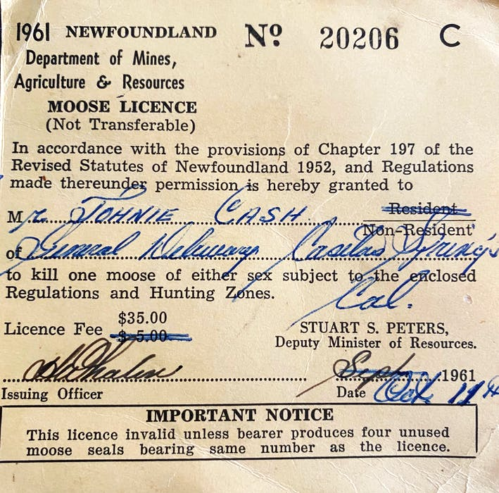 Johnny Cash's Newfoundland hunting licence from 1961. Cash had yet to achieve the height of his stardom — which may account for the misspelling of his name.