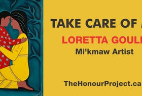 """We'koqma'q First Nation artist and mother Loretta Gould's painting, 'Take Care of Me,"""" represents a mother's love for her child and is part of a national campaign to honour the children whose remains are being recovered at former residential schools across Canada. CONTRIBUTED"""