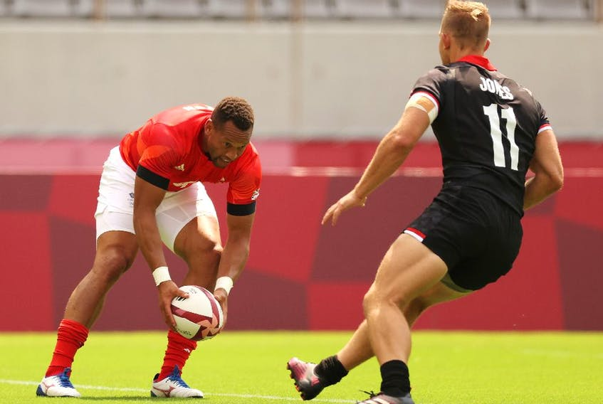 Dan Norton of Team Great Britain scores a try on day three of the Tokyo 2020 Olympic Games at Tokyo Stadium on July 26, 2021 in Chofu, Tokyo, Japan.